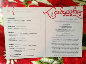 Downtown Disney BabyCakes NYC Menu Card
