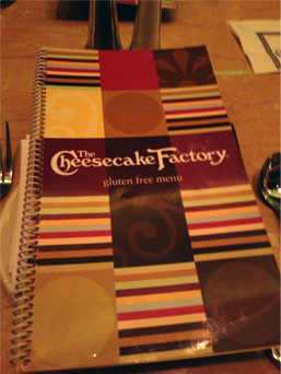 The Cheesecake Factory's Gluten Free Menu, January 22, 2014