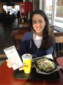 Me, My Bowl And My Handy Pamphlet At Moe's, February 17, 2014