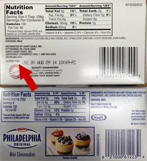 Giant Eagle Brand Cream Cheese Has Gluten Free Label But Philadelphia Brand By Kraft Doesn't